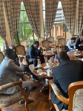 LSK President Nelson Havi and his teammates having a cup of tea in parliament on Monday, October 12