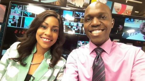 Former NTV anchors Larry Madowo (right) and Victoria Rubadiri at NTV Studios