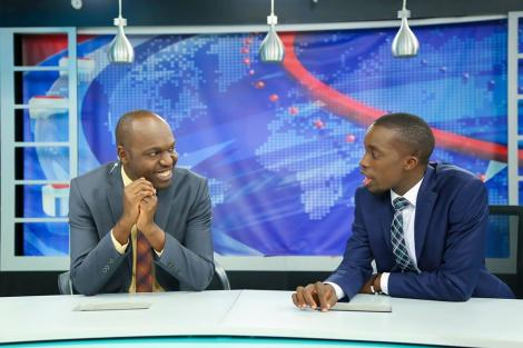 Larry Madowo (L) and Dr King'ori pictured at the NTV studios on February 7, 2017.