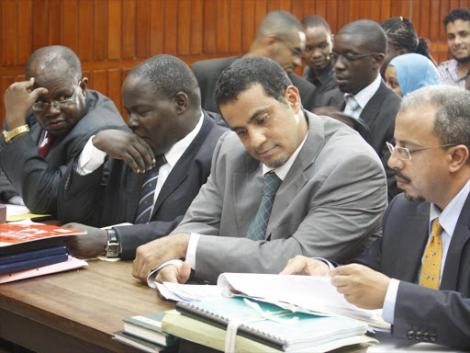 Lawyers Michael Oloo, Samson Okongo, Mohammed Balala and Ali Taib during the hearing of Swaleh Nguru's property case at the High Court in Mombasa on July 19, 2012