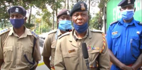 Likuyani Sub-county Police CommanderBoniface Lisiolo addressing the press.