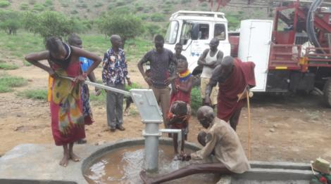 Lodwar residents pictured at the new borehole facilitated by Gospel Musician Eunice Njeri and Drill for Life Company on March 19, 2020.