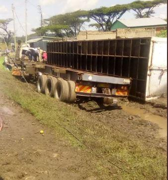 A lorry involved in a road accident at the Londiani junction on Saturday, May 23.