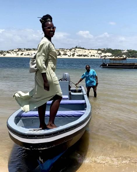 Lupita Nyong'o posing for a photo in Lamu on March 16, 2021