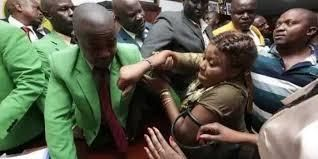 MCA Mary Njambi wrestles at City Hall in October 2018.