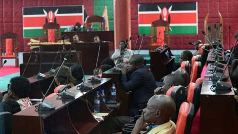 MCAs follow proceedings at the Homa Bay County Assembly.