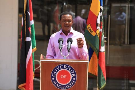 Machakos Governor Alfred Mutua speaking during a press briefing at his Athi River office, Mavoko, April 12, 2020.