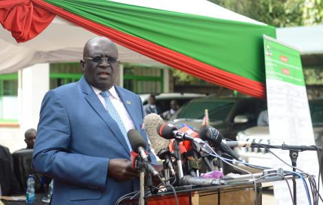 CS Education Prof George Magoha while releasing 2019 KCPE results at Mitihani House in Nairobi on Monday November 18, 2019