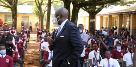 Education CS Magoha speaking to learners of Chavakali High School, Vihiga County on March 6, 2021.