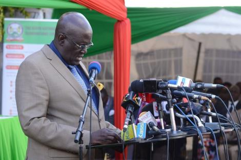 Education Cabinet Secretary George Magoha at KNEC Offices in Nairobi on December 18, 2019