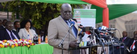 Education CS George Magoha during the release of the 2019 KCSE results on Wednesday, December 18, 2019