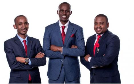 Mohamed Mahmud (left) with his colleagues at Switch TV, Daniel Kituu and Abulla Ahmed (right)
