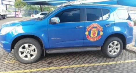 The Chevrolet vehicle branded with Manchester United logos