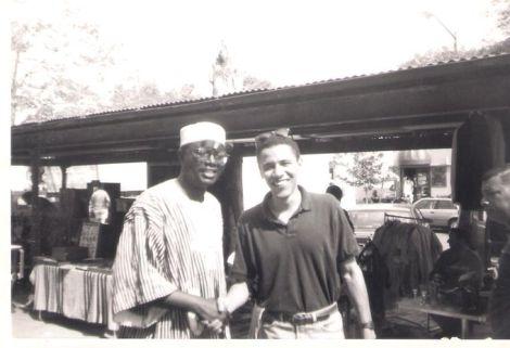 A rare photo of Malik Obama (left) with former US President Barack Obama