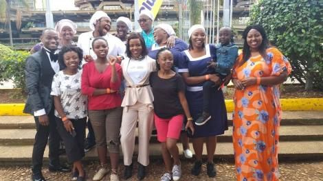 Citizen TV's Maria series cast post for a photo in 2019
