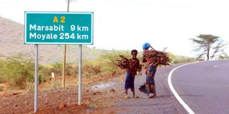 A road sign leading to Marsabit County