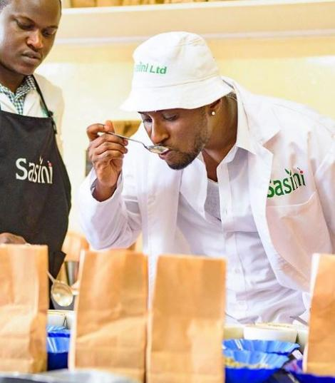 Moses Mbai, the CEO of the 5th Generation Coffee during a training in Kenya in 2019.