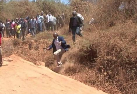Mbeere South MP Geoffrey Kingagi Muturi being chased by residents on September 2, 2020.