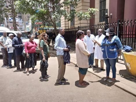 Medics conducting random screening at National Archives, Nairobi on Saturday, March 21, 2020.