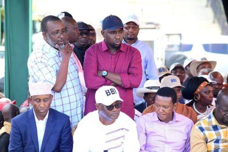 Meru Senator Mithika Linturi (standing on the left) pictured alongside Elgeyo Marakwet Kipchumba Murkomen at Kinoru Stadium at the BBI rally on February 29, 2020.