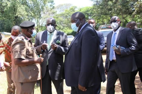 Education CS Prof.  George Magoha, PS for VTT Julius Juan and Homabay County Commissoner during a visit to Ogande Secondary in Homabay County on January 28, 2021