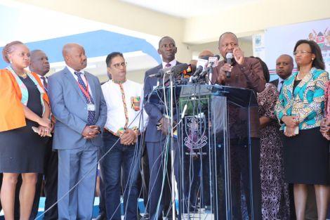 Ministry of Health Cabinet Secretary Mutahi Kagwe addresses the media