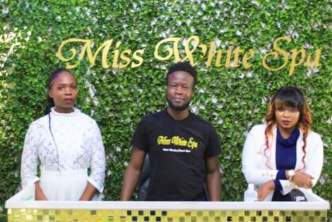 Miss White Spa Whitney Sang (Right), Stylist Armstrong Andira (centre) and Anne Shikanda (left).