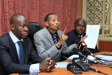 From left: Saboti MP Caleb Amisi, Nyali MP Mohammed Ali, and Butere MP Tindi Mwale addressing the media at Parliament Buildings in Nairobi on June 19, 2018