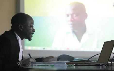 Mombasa High Court Judge Eric Ogola giving his ruling via a video link on Monday, March 31, 2020.