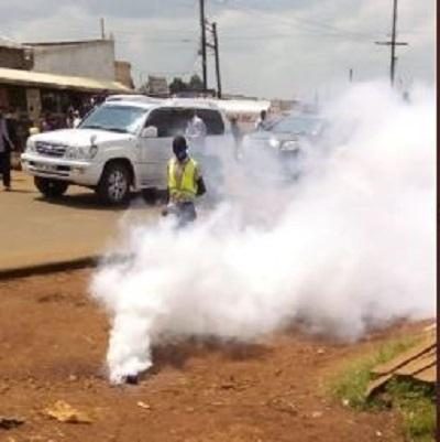 Bungoma Senator Moses Wetangula's vehicle drives past a teargas cannister on June 19, 2020.