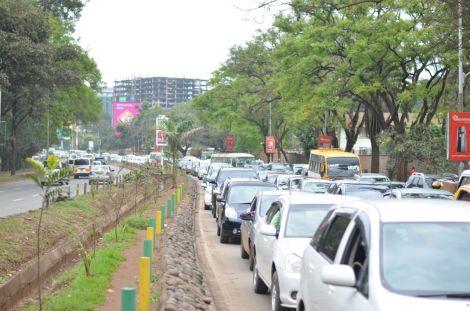 Motorists in a rush hour traffic jam along the busy Uhuru highway in Nairobi.  October 17, 2019