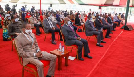 Embakasi East MP Babu Owino (left) with Lands PS Dr Nicholas Muraguri to his left during the event at KICC on August 21, 2020.