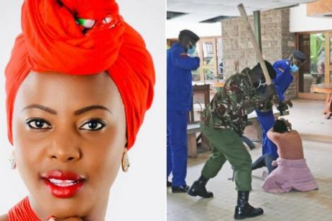 Mlango Kubwa MCA Patricia Mutheu Musyimi seen being assaulted by police on July 28, 2020