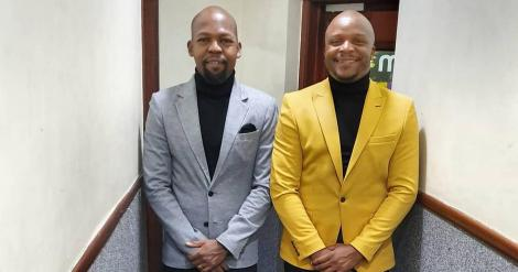 File image of Alex Mwakideu and Jalang'o at Milele FM studios