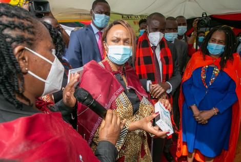 NASCOP Head Dr Ngugi explains to CAS, Health, DR. Mercy Mwangangi about the Self test kit on Tuesday, December 1, 2020.