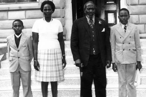 Mzee Jomo Kenyatta pictured with his family at their Gatundu home