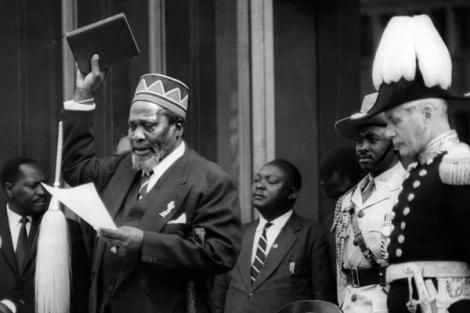 Mzee Jomo Kenyatta takes the oath of office during his swearing-in as Kenya's first Prime Minister on June 1, 1963 .jpg