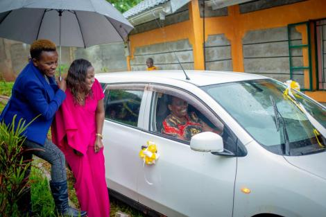 NCIC Commissioner Wambui Nyutu's mother in her new car on Saturday, November 14, 2020.