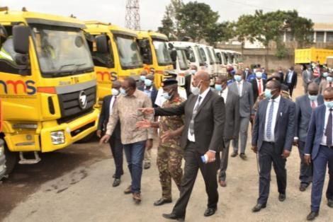 The trucks that were rehabilitated by NMS in Nairobi in October 2020.