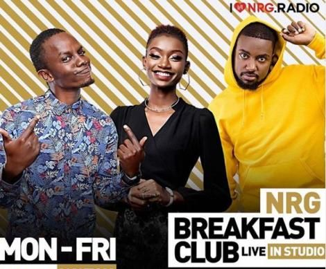 NRG's Breakfast club hosted by Charlie Karumi, Natalie Githinji and Deejay Shawn.
