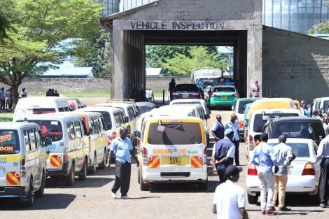 Vehicles awaiting inspection at the NTSA centre.