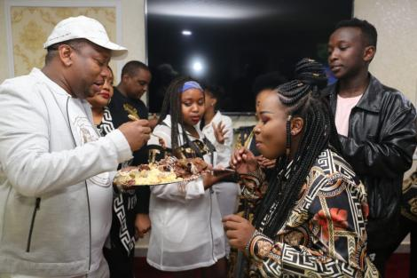 Nairobi Governor Mike Sonko and exchanging some cake with his daughter Saumu during his birthday party on March 4, 2020.