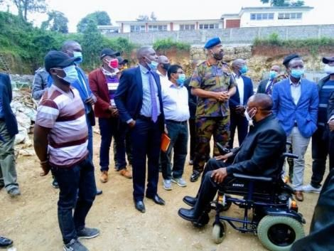 Nairobi Metropolitan Service Director General Mohammed Badi (In Military Fatigues) pictured at a construction site in Parklands, Nairobi. July 13, 2020.