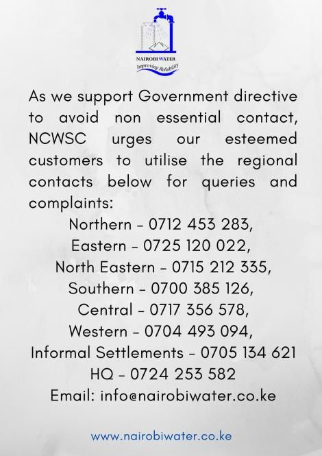 Nairobi Water and Sewerage Company contacts list.