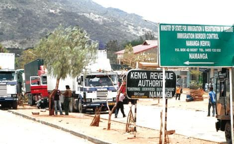 Trucks at the Namanga Kenya-Tanzania border town.