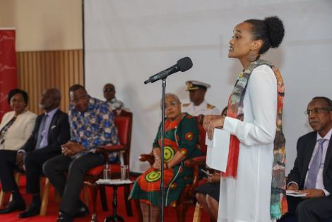 Ngina Kenyatta speaks during the African Philanthropy Forum at Strathmore Business School, Nairobi, on November 15, 2019