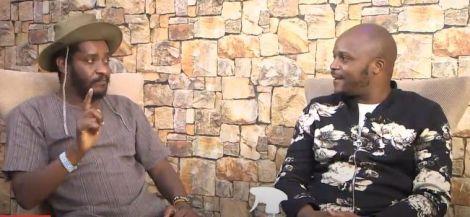 Actor Kenneth Gichoya aka Njoro (left) and Kiss FM presenter Jalang'o