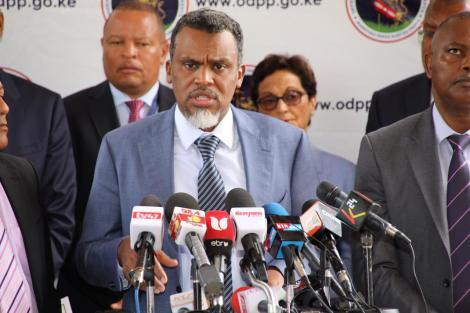 Director of Public Prosecutions (DPP) Noordin Haji addresses a press conference at his office in Upperhill, Nairobi on Thursday, March 5, 2020.