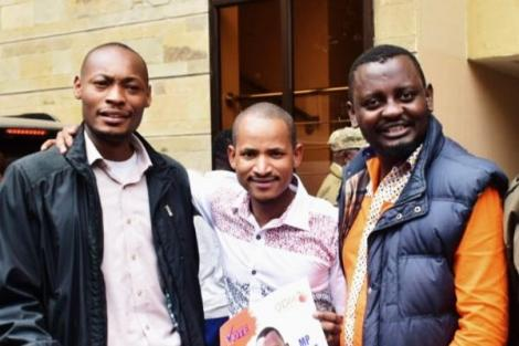 ODM National Youth Coordinator Benson Musungu in the company of Embakasi East MP Babu Owino and a colleague in Kibra in 2019.