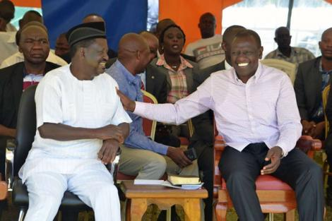 ODM leader Raila Odinga (Left) and Deputy President William Ruto during an event in January 2019.